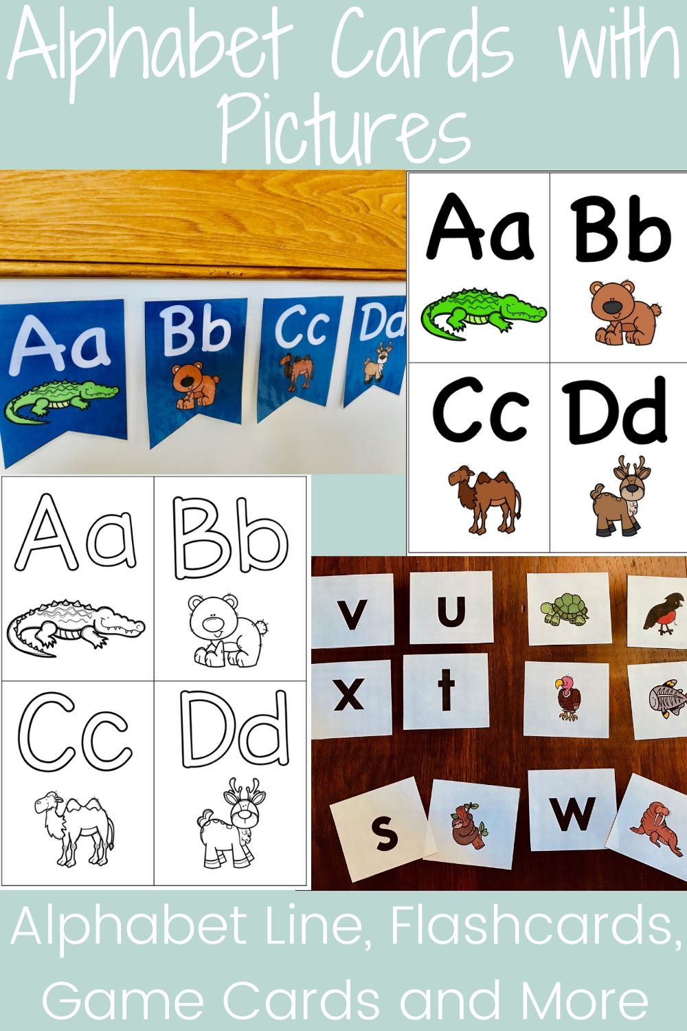 Alphabet Cards with Pictures : Alphabet Line / Flashcards / Game Cards and More
