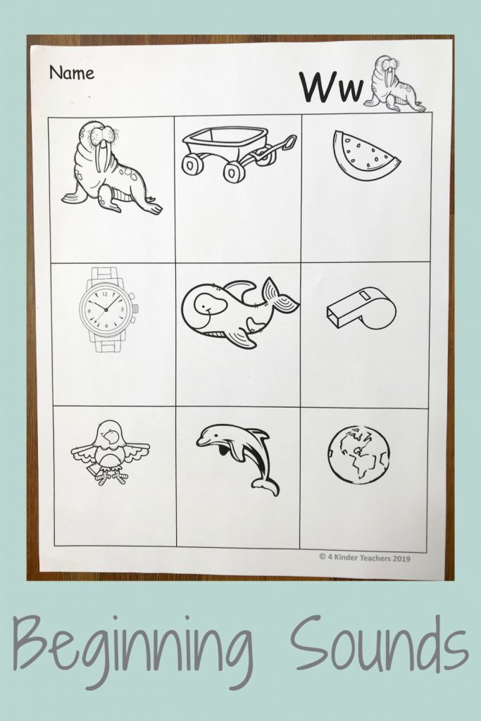 picture of beginning sounds worksheet for letter Ww
