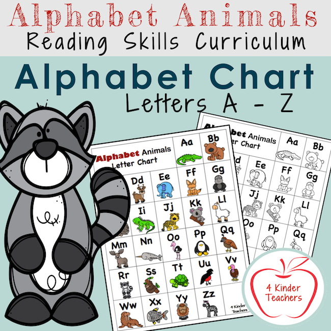 picture of alphabet animals reading skills curriculum cover for ABC letter chart
