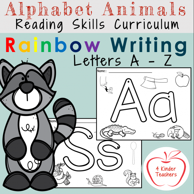 picture of cover of rainbow writing packet