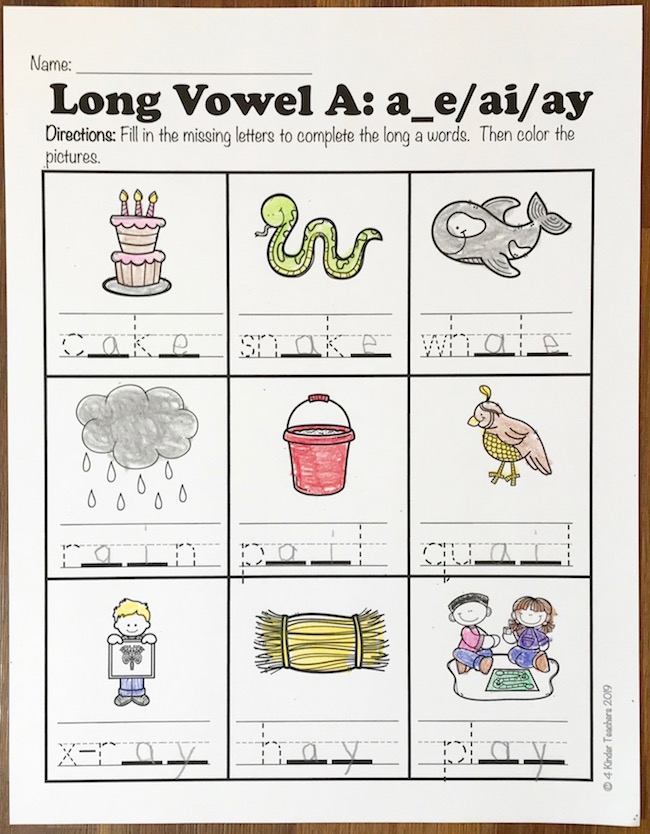 picture of a long vowel a worksheet where students fill in the blanks to complete the long a words