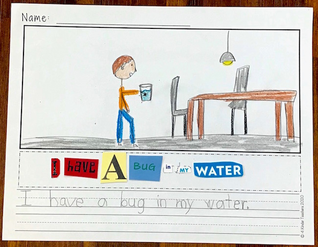 picture of build a sentence worksheet with a picture of boy holding glass of water and table and sentence