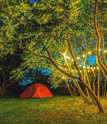 picture of tent in the backyard