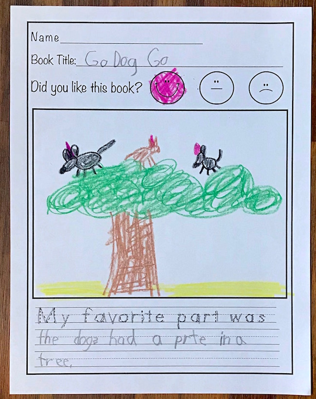 picture of reading response worksheet filled out about the book Go Dog Go