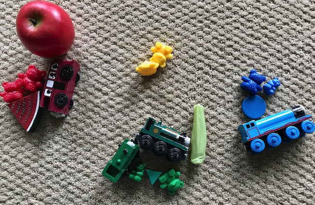 picture of toys sorted by color