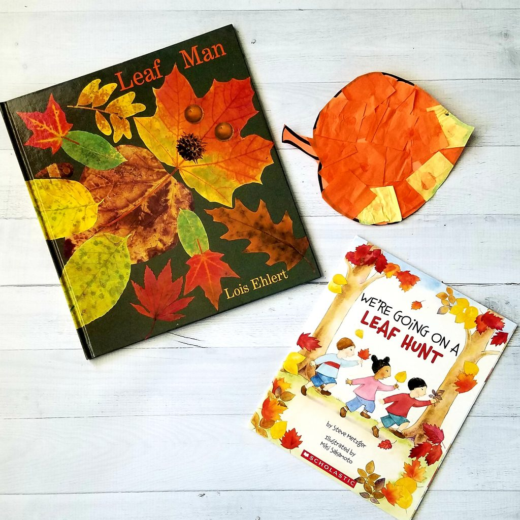 Leaf books with tissue paper leaf, fun science activity for kindergarten