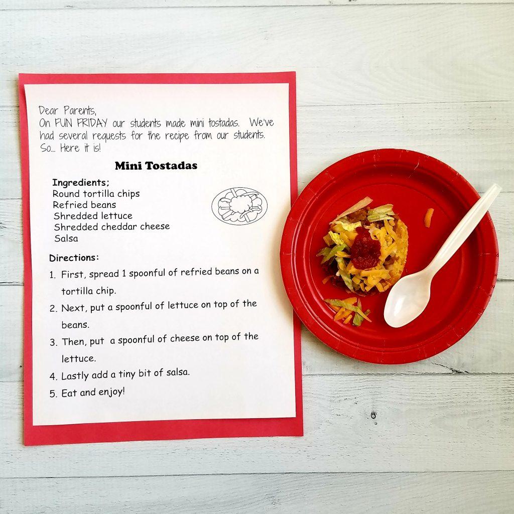 mini tostada a fun snack idea for kindergarten class