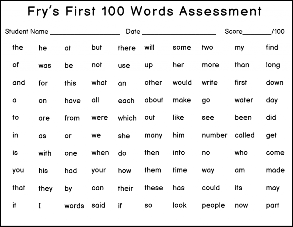 sight word assessment