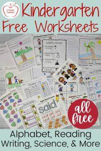 The Best Kindergarten FREE Worksheets