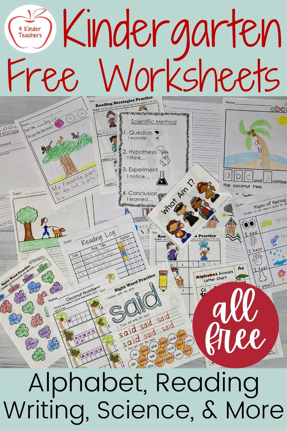The Best Kindergarten FREE Worksheets