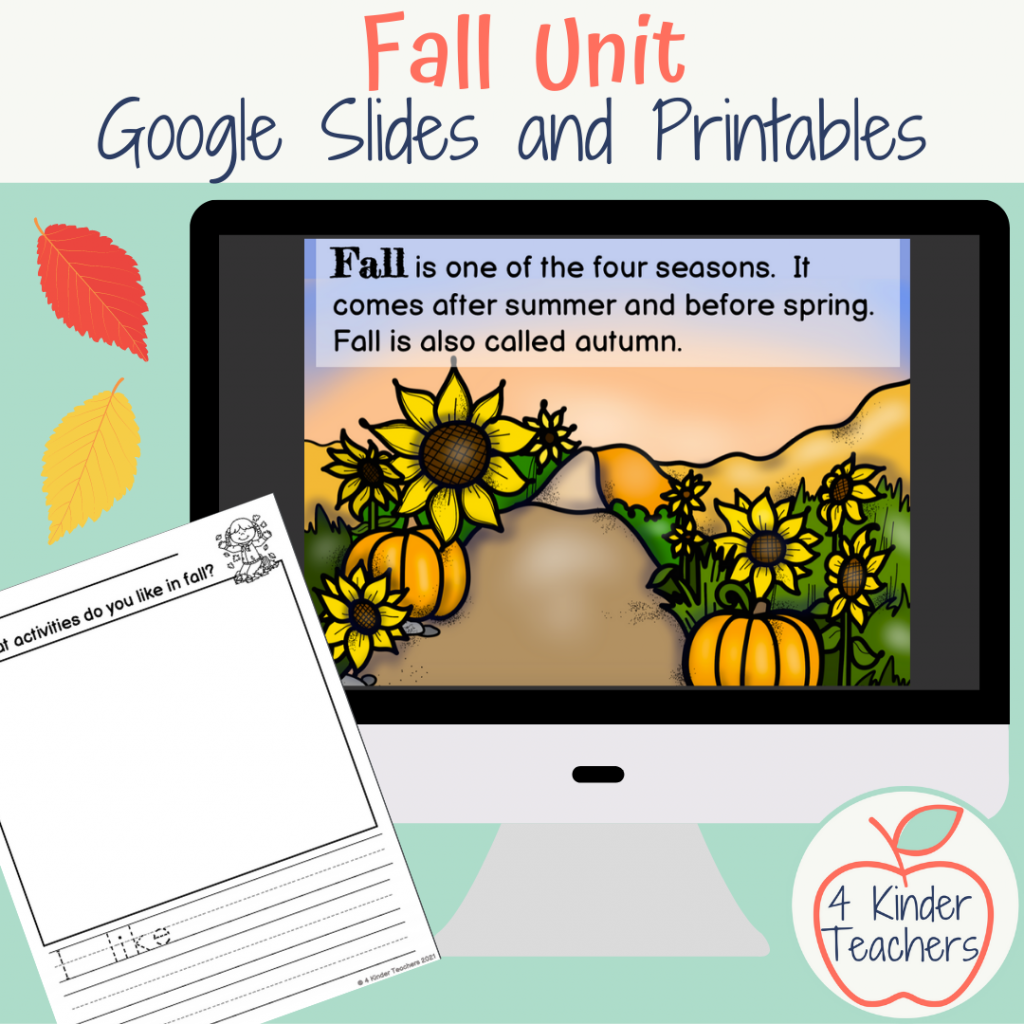 kindergarten fall unit with google slides and printables