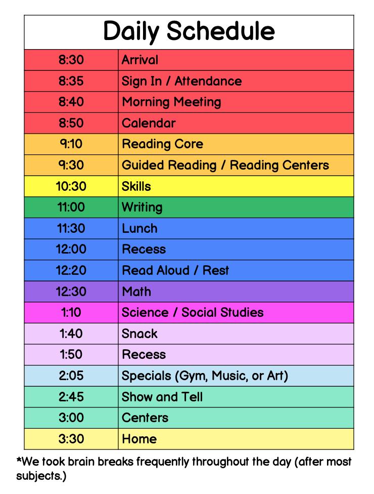 kindergarten-schedule