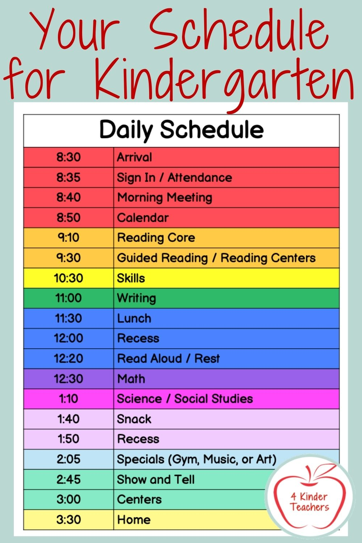 Your Schedule for Kindergarten