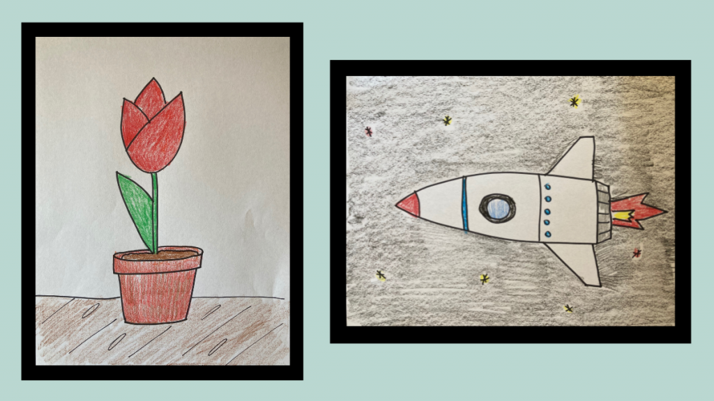 A drawing of tulip and a drawing of a rocket.