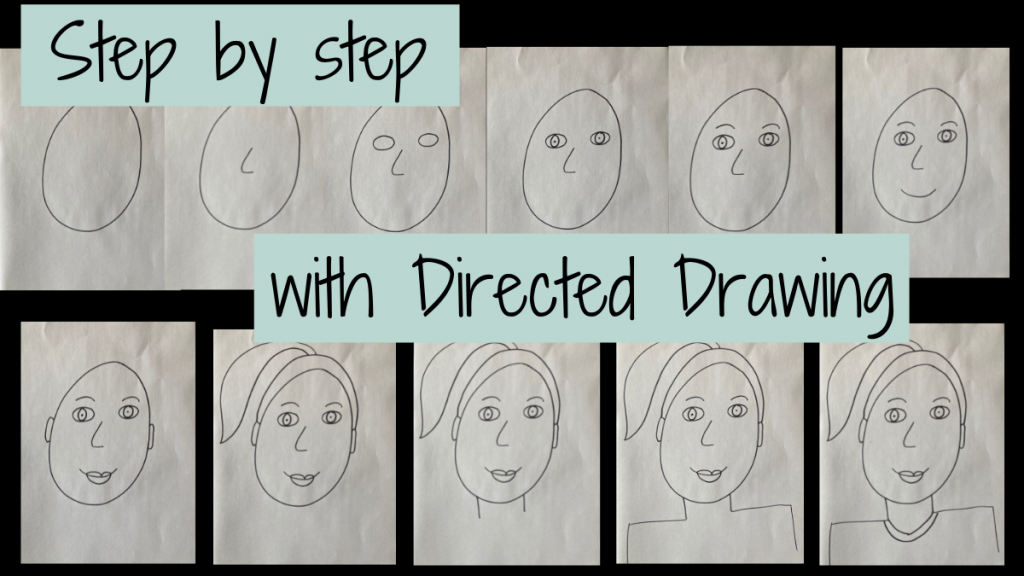 Step by step illustrations of a directed drawing