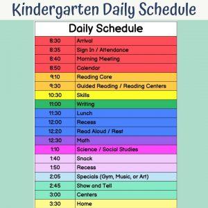 daily schedule for kindergarten