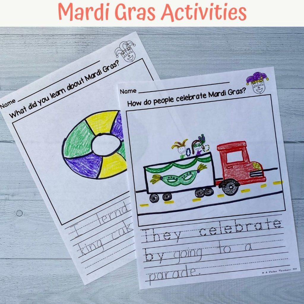 mardi gras activity pages for kindergarten