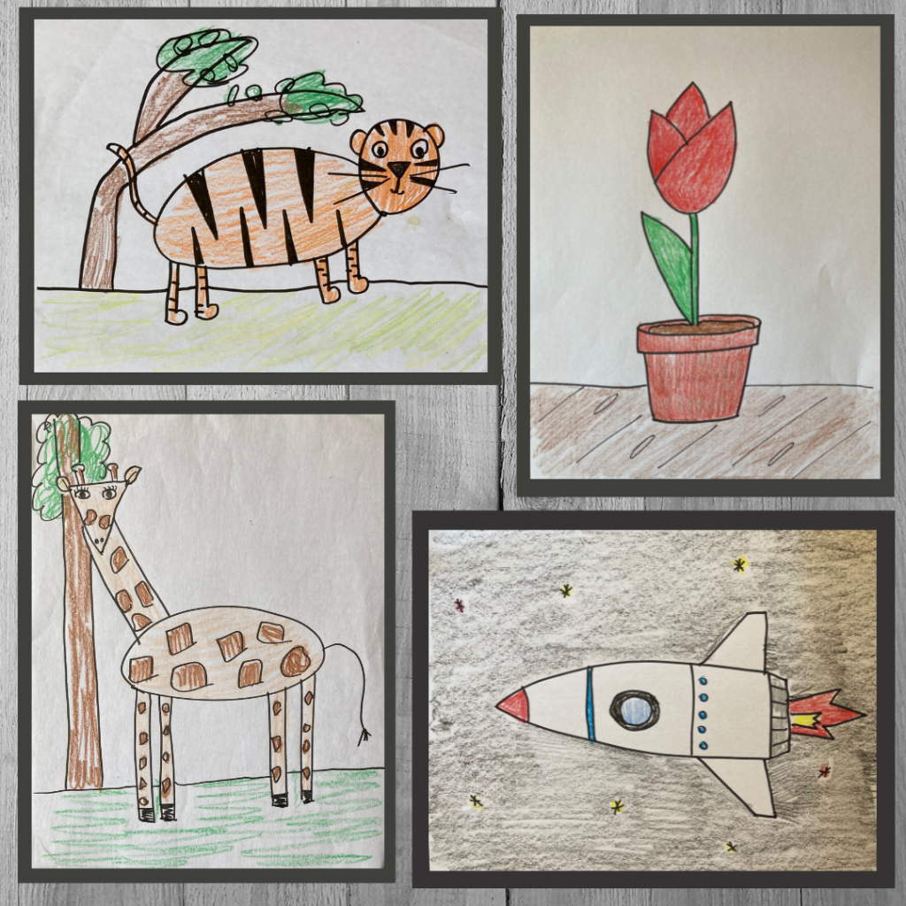 drawings of a tiger, a tulip, a giraffe and a rocket