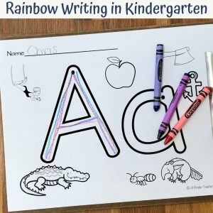 rainbow writing in kindergarten