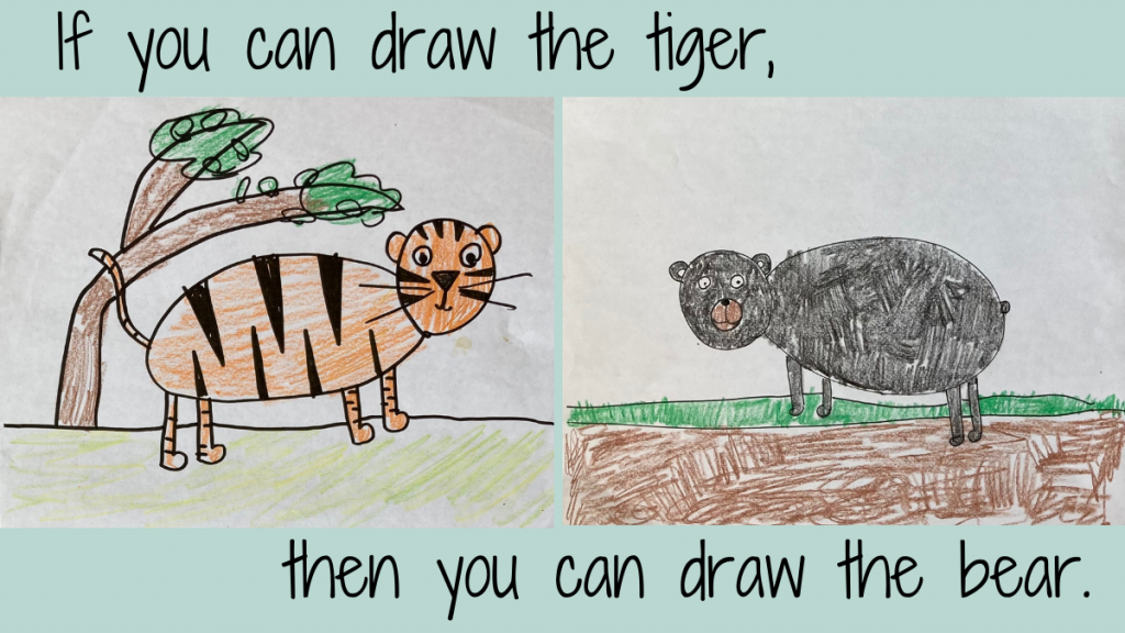 directed drawing of a tiger and a bear