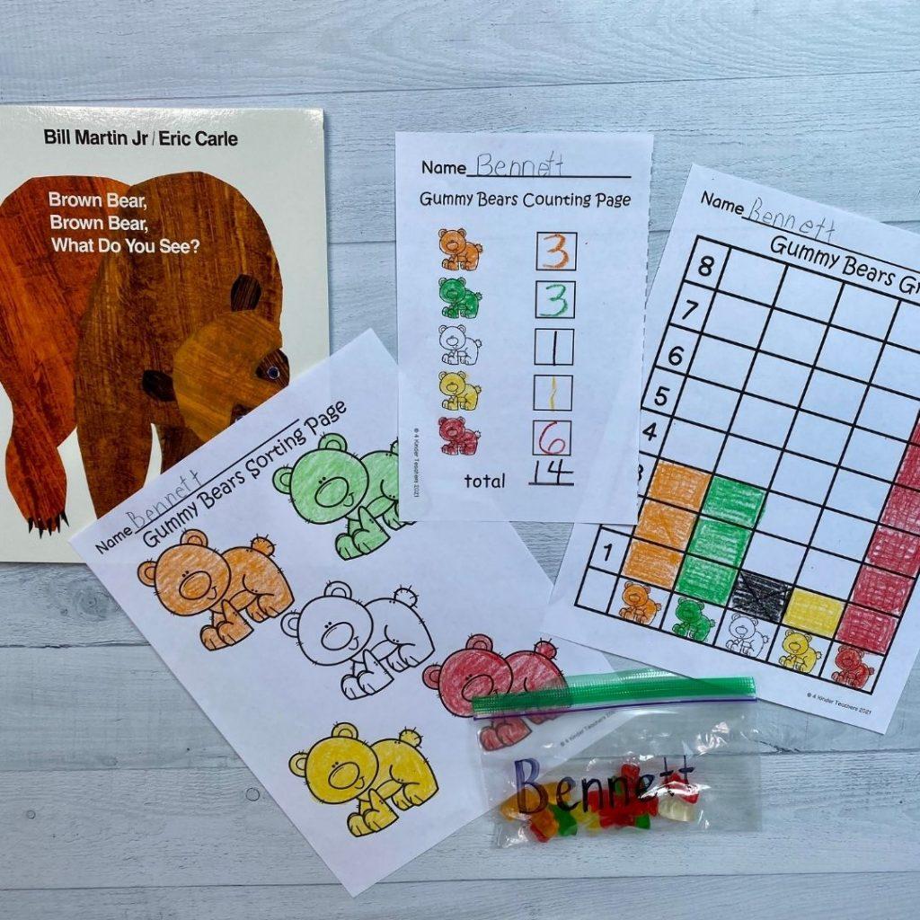gummy bear graph math activity pages