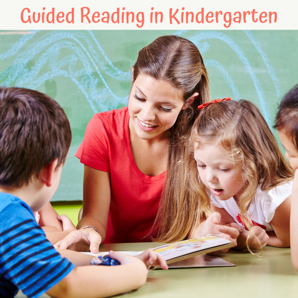teacher reading in a small group setting with kindergarteners