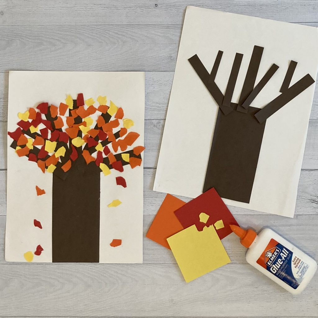 construction paper fall tree