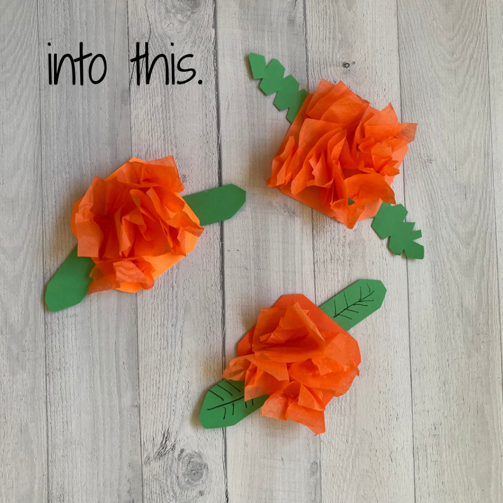 day of the dead tissue paper marigold craft