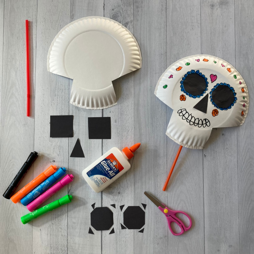 materials for day of the dead skull mask craft